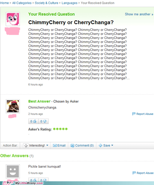 cherrychanga chimmicherry IRL pinkie pie yahoo answers - 5733309952
