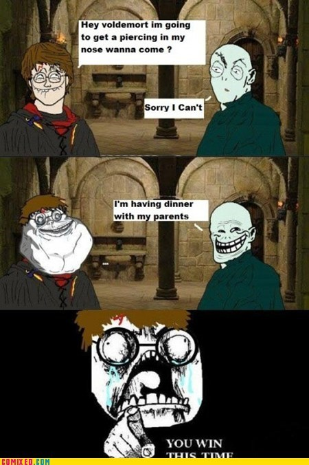 got your nose,Harry Potter,troll,voldemort,your parents