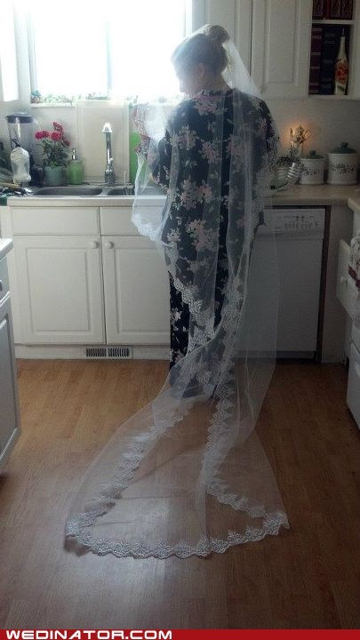 bride funny wedding photos pajamas veil - 5733550080
