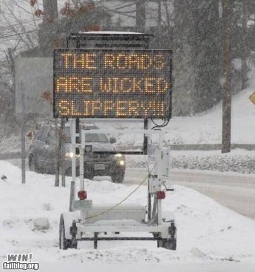 blizzard roads sign snow snowy traffic warning - 5733554176