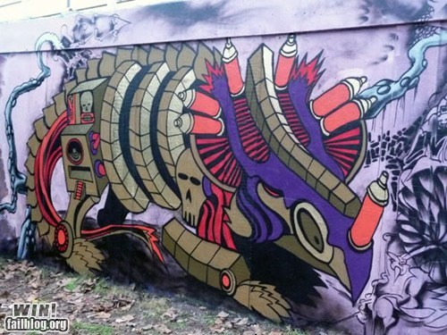 dinosaur graffiti Street Art tag - 5733606912