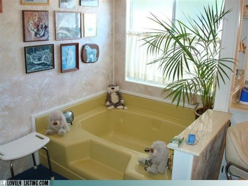 bath bathroom friends stuffed animals tub