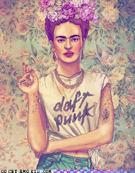 daft punk,frida kahlo,hipsterlulz,painting