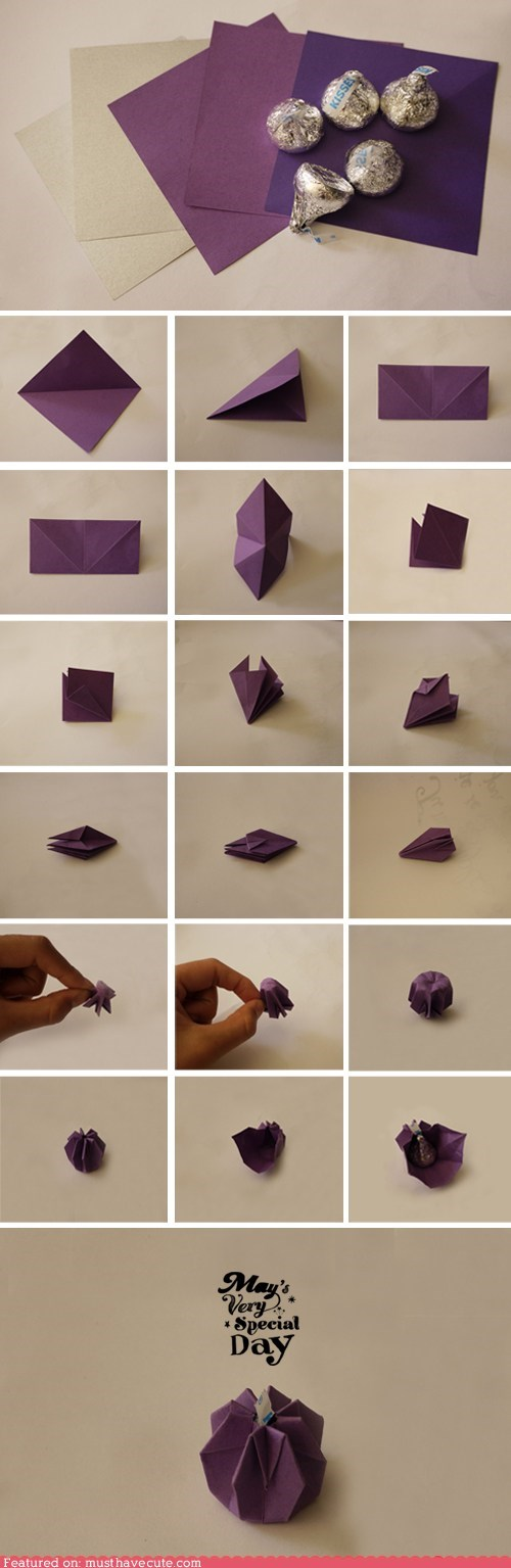 chocolate,complicated,fold,KISS,origami,paper