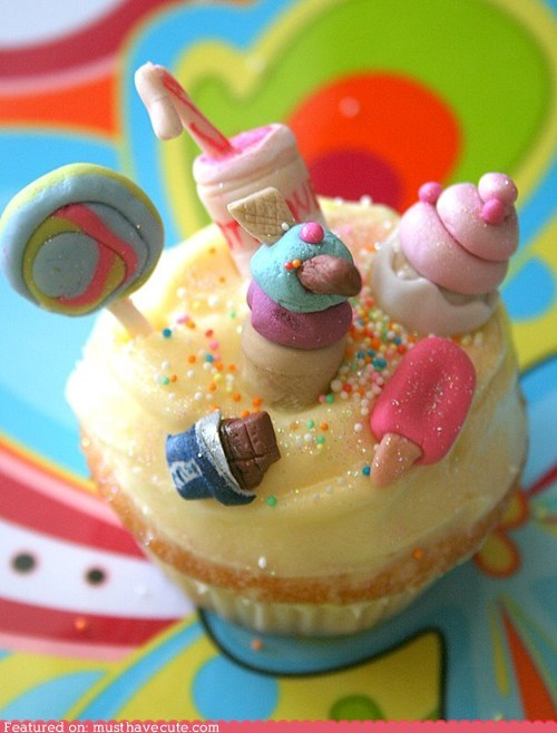 candy cupcake epicute fondant miniature sprinkles sweets - 5733996800