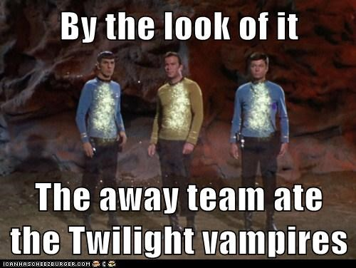 away,Captain Kirk,DeForest Kelley,good,Leonard Nimoy,McCoy,Shatnerday,Spock,Star Trek,team,vampires,William Shatner