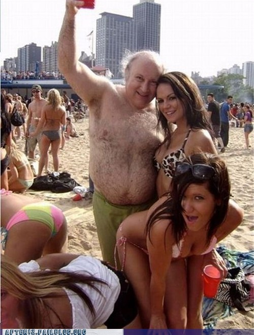 beach,bikini,drinking,gold digger,hairy,hey ladies,old guy,woo girls