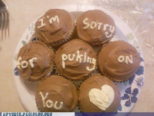 3 apology cupcakes puking sorry vomiting