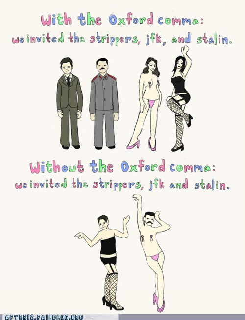after 12 bachelor party grammar Hall of Fame jfk oxford comma stag stalin strippers - 5734091008