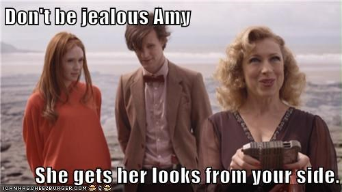 alex kingston,amy pond,doctor who,jealous,karen gillan,looks,Matt Smith,River Song,the doctor