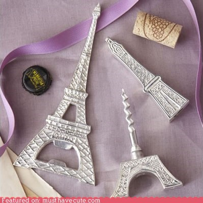beer,bottle opener,corkscrew,eiffel tower,paris,utensil,wine