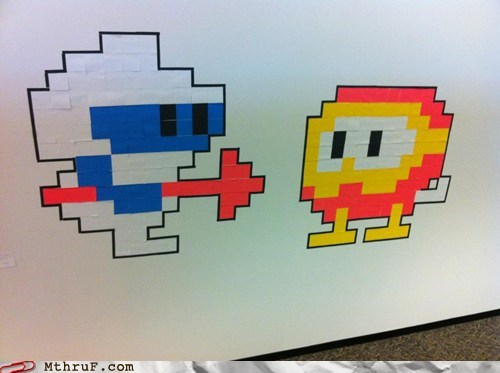 eight-bit,office art,post-it art,winning
