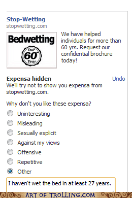 ads,bed wetting,expensa,facebook