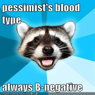 Blood Lame Pun Coon negative pessimism type