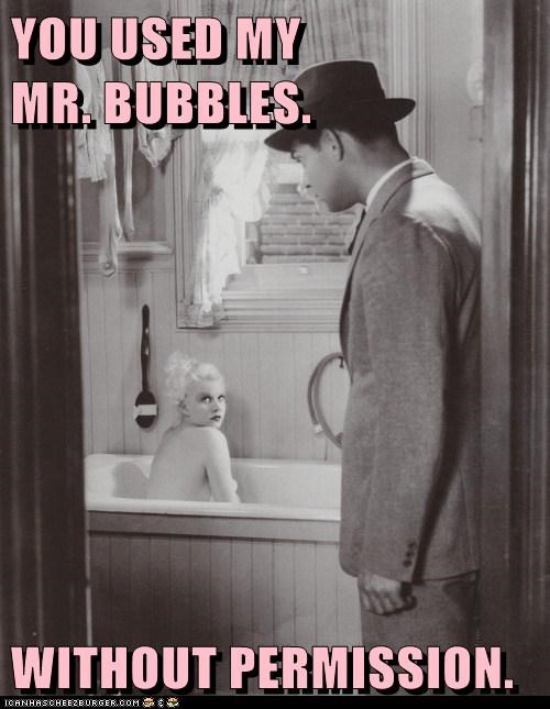 bath black and white historic lols mr-bubble vintage - 5736028416