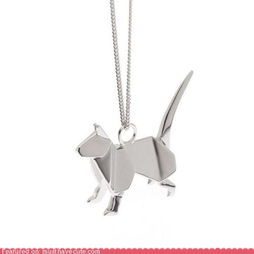 accessories,cat,chain,Jewelry,necklace,origami,pendant,silver