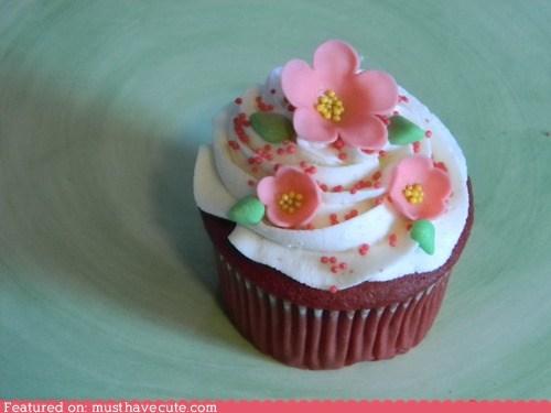 cupcake epicute flowers fondant red velvet spring - 5737348352