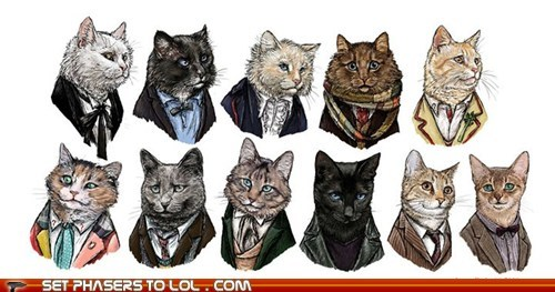 Cats christopher eccleston David Tennant doctor who Matt Smith paul mcgann peter davison regenerations the doctor tom baker william hartnell - 5737407488
