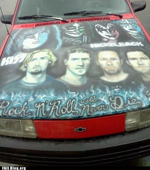 car hood,cars,driving,fail nation,g rated,KISS,Music,nickelback,yikes