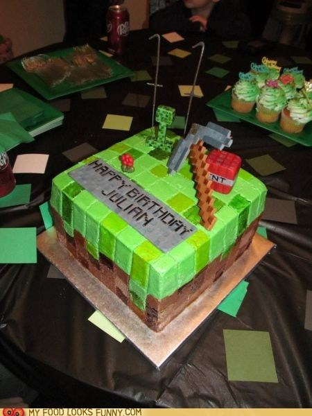 best of the week,birthday,blocky,cake,fondant,green,minecraft