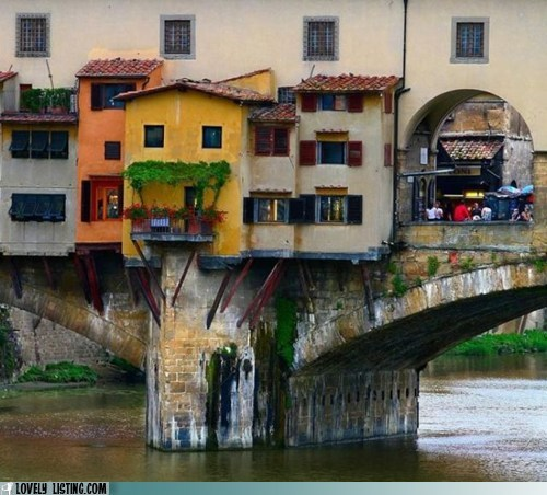 bridge,colorful,overhang,river,water