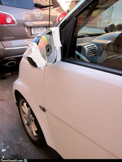car,CD,disc,rearview mirrors