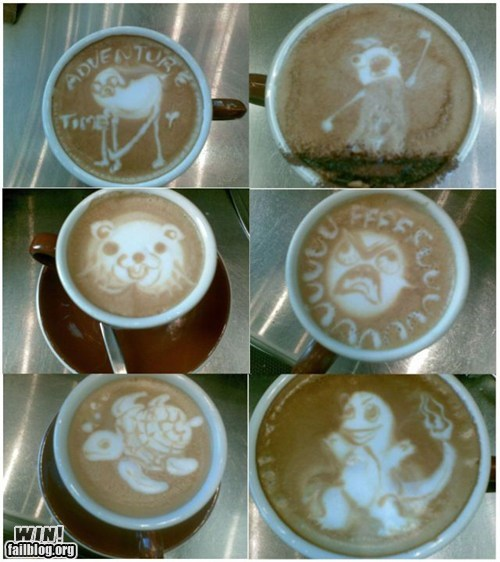 adventure time,breakfast,coffee,coffee art,hyperbole and a half,latte art,Memes,memes IRL,pedobear,Pokémon,rage faces