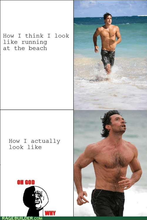beach,derp,expectations vs reality,oh god why,Rage Comics,running