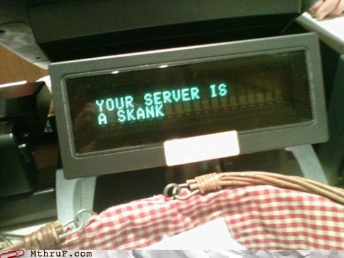 register,registers self aware,server is a skank,service industry