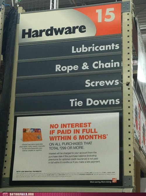 aisle,bondage,chains,double entendre,home depot,innuendo,lube