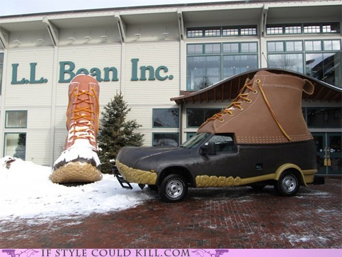 bootmobile,boots,crazy shoes,ll bean