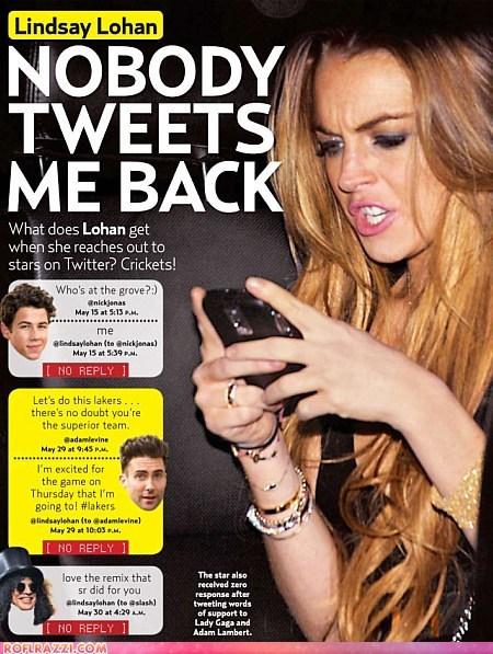 celeb forever alone funny lindsay lohan meme tweet twitter - 5738602496