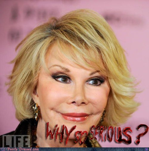 creepy face,joan rivers,the joker,WHY SO SERIOUS