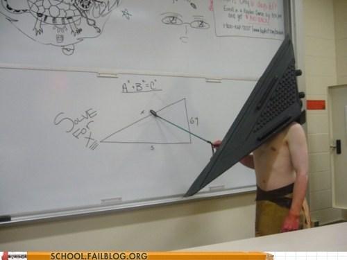 classroom geometry math pyramid head whiteboard