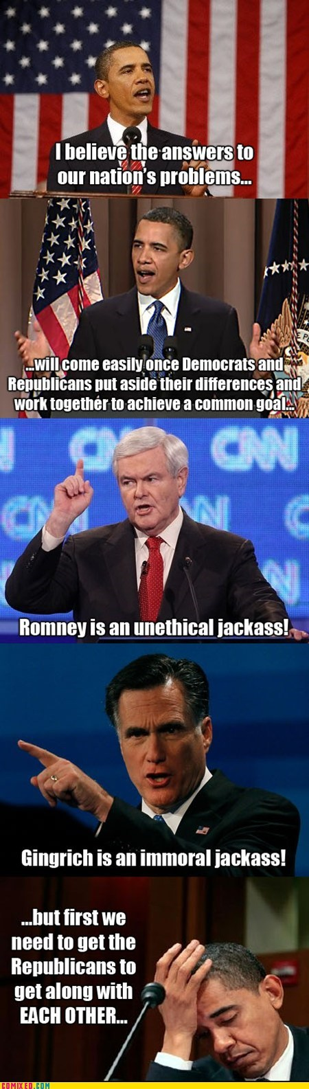 barack obama,comic,democrats,Hall of Fame,Mitt Romney,newt gingrich,political pictures,Republicans