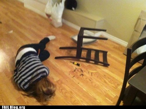 beaten by the instructions,DIY,embarrassing,furniture,ikea,shame