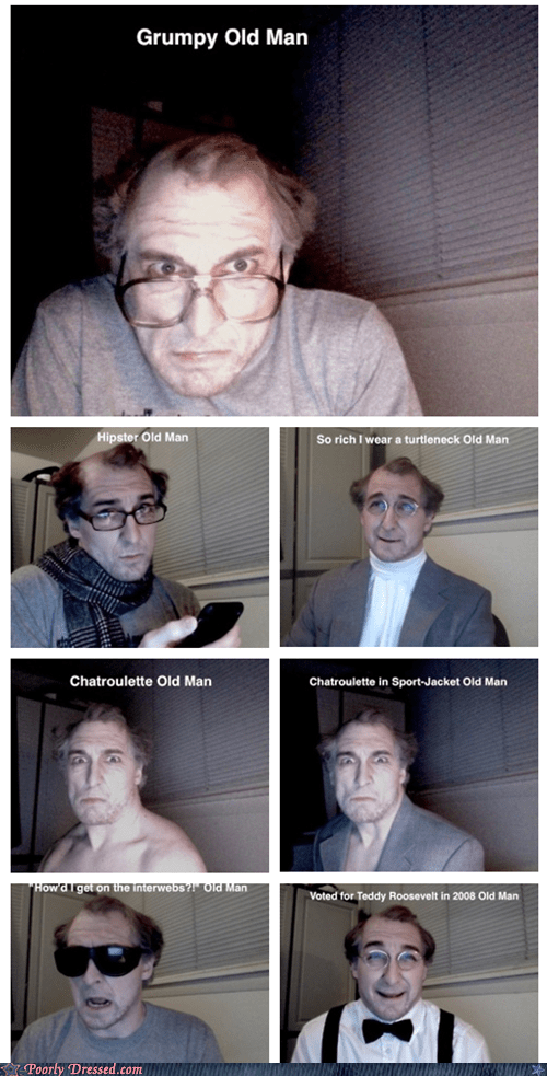 Chat Roulette creeper elderly fashion g rated hipster old people rock poorly dressed senior citizen turtle neck web cam - 5741412608