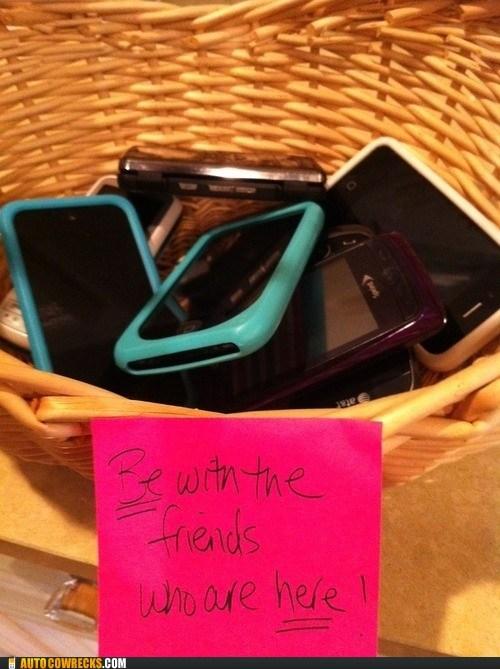 basket cell phones friends social