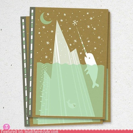 cover iceberg moon narwhal notebook paper snowflakes - 5741943040