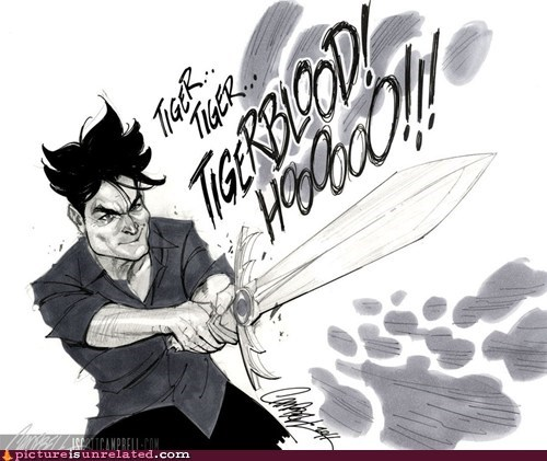 Charlie Sheen,sword,tiger blood,warlock,wtf