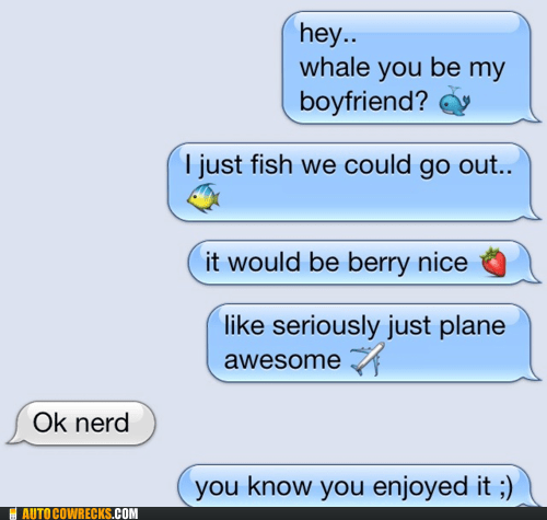 Emoji puns that a girl sends to a boy she likes.