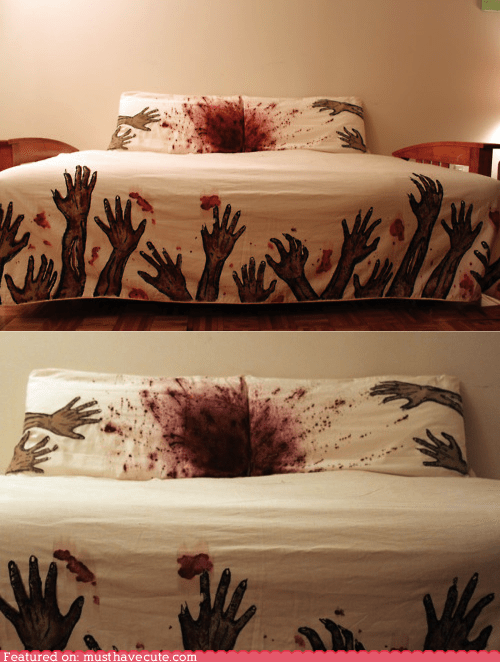 bed Blood handpainted hands linens sheets zombie - 5742046464