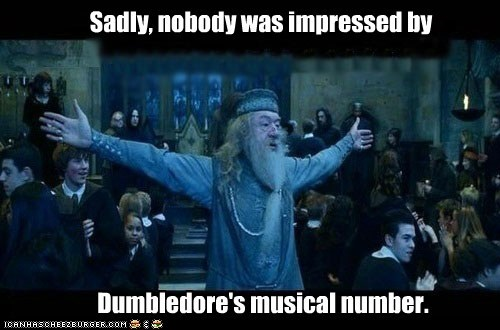 dumbledore,Harry Potter,impressed,Michael Gambon,musical number,singing