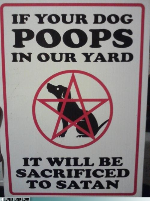 dogs,satan,sign,yard