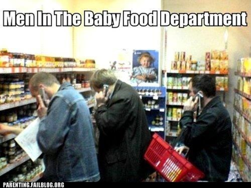 confused men men in the baby food department on the phone - 5742662912
