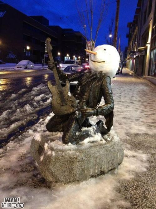 jimi hendrix prank snow snow day snowman statue - 5742784768
