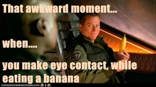 Awkward Moment,banana,christopher judge,corin nemec,eye contact,jonas quinn,Stargate,tealc