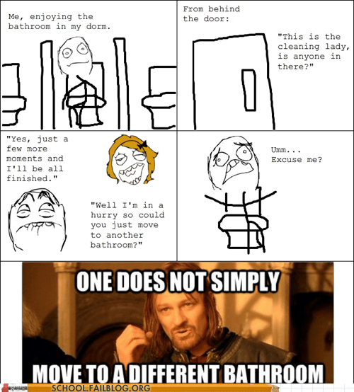 bathroom cleaning lady one does not simply pooping rage comic