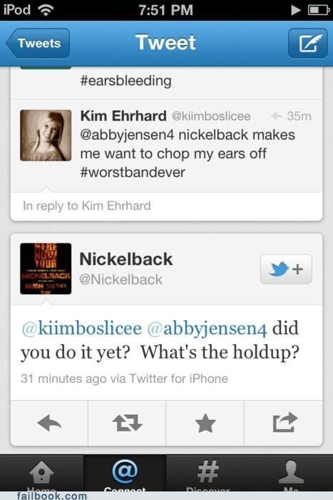 fans fight nickelback oh snap reply twitter