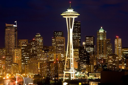 city,cityscape,getaways,night photography,north america,seattle,space needle,united states,washington